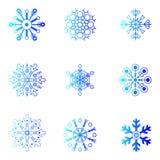 Vector sneeuwvlokken Kerstmis en Nieuwjaarontwerp Stock Afbeelding