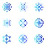 Vector sneeuwvlokken Kerstmis en Nieuwjaarontwerp Stock Foto's