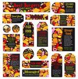Vector snel voedselmaaltijd en geplaatste snacksmarkeringen Royalty-vrije Stock Foto