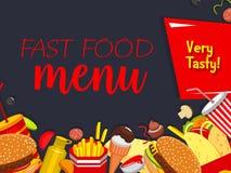 Vector snel voedselmaaltijd en snaks menuaffiche Royalty-vrije Stock Afbeelding