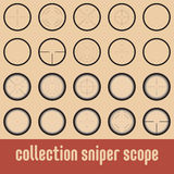 Vector sniper scope. Collection of 10 vector sniper scope, in two styles Royalty Free Stock Photography