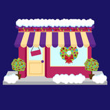 Vector Snow Covered Shop or Business Decorated for Winter and Christmas Stock Photo
