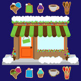 Vector Snow Covered Shop or Business Decorated for Winter and Christmas Royalty Free Stock Photos