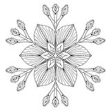 Vector snow flake in zentangle doodle style, black mandala for a. Dult coloring pages. Ornamental freehand winter illustration for decoration. Christmas greeting vector illustration