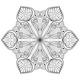 Vector snow flake in zentangle doodle style, mandala for adult c Stock Image