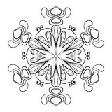 Vector snow flake in zentangle doodle style, vintage mandala for Royalty Free Stock Photo
