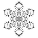 Vector snow flake in zentangle style, doodle mandala for adult c Royalty Free Stock Photos