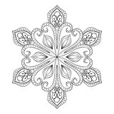 Vector snow flake in zentangle style, doodle mandala for adult c Stock Photo