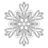 Vector snow flake in zentangle style, freehand doodle mandala fo Royalty Free Stock Photography