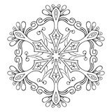 Vector snow flake in zentangle style, mandala for adult coloring. Pages. Ornamental winter illustration for decoration, Christmas greeting cards, invitation vector illustration
