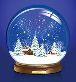 Vector snow globe. Snow globe with a town. All elements and textures are individual objects. Vector illustration scale to any size Royalty Free Stock Image