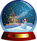Vector snow globe with a christmas tree and snowma Stock Photography