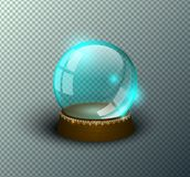 Vector snow globe empty template isolated transparent background. Christmas magic ball. Blue glass ball dome, wooden stand royalty free stock photography