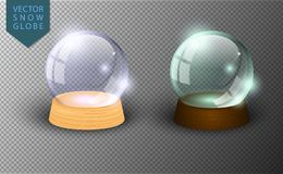 Vector snow globe empty template isolated on transparent background. Christmas magic ball. Glass ball dome, wooden stand. stock illustration