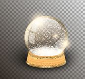 Vector snow globe empty template isolated on transparent background. Christmas magic ball. Glass ball dome, wooden stand. With silver crown decor. Winter vector illustration