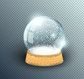 Vector snow globe empty template isolated on transparent background. Christmas magic ball. Glass ball dome, wooden stand with vector illustration