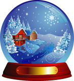 Vector snow globe with a house within. Vector illustration. Isolated on white Stock Images