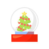 Vector of snow globe isolated on white. Cartoon style. Cute funny christmas icon. EPS 10 Vector illustration Stock Images