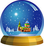 Vector snow globe with a Santa house within Stock Photos