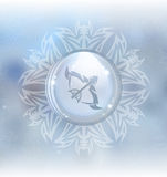 Vector snow globe with zodiac sign Sagittarius Royalty Free Stock Photo
