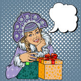 Vector Snow Maiden closeup Stock Images