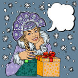 Vector Snow Maiden closeup in snow, pop art comic style. Christmas winter woman illustration vector illustration