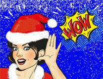 Vector Snow Maiden surprised face closeup in snow, pop art comic style Christmas winter woman illustration Royalty Free Stock Images