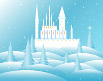 Vector snow queen's castle in frozen forest. Winter decorative background vector illustration