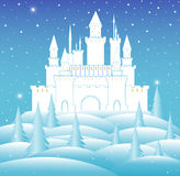 Vector snow queen's castle in frozen winter forest. Happy New Year and Merry Christmas vector background Royalty Free Stock Image