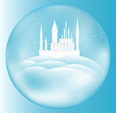 Vector snow queen's castle inside crystal ball Royalty Free Stock Image