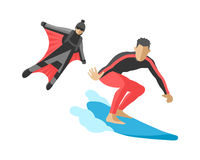 Vector snowboard jumping extreme athletes silhouettes illustration life set speed skydiver wakeboard surfing flyboard Royalty Free Stock Images
