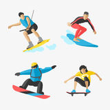 Vector snowboard jumping extreme athletes silhouettes illustration life skateboard set speed skydiver skateboarder skate Stock Photos