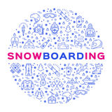 Vector snowboarding icon, outline snowboard logo, infographics. Winter sports equipment Royalty Free Stock Photography