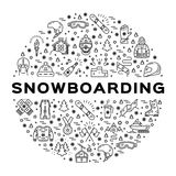 Vector snowboarding icon, Snowboard infographics. Isolated winter sports symbols Stock Photo