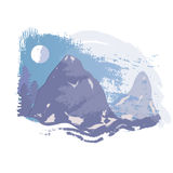 Vector snowcapped mountain. Snow-covered mountains in the forest. - Illustration Royalty Free Stock Image