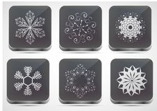 Vector snowflake app icon set. Eps 10 Royalty Free Stock Photos