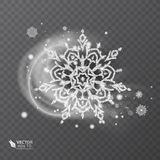 Vector snowflake with glittering texture, background for winter and christmas theme. Snow frost effect on transparent royalty free stock photography