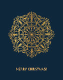 Vector snowflake with gold gradient. Vector illustration of Christmas tree toy Stock Photo