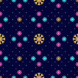 Vector snowflake seamless pattern. Winter Christmas background, line snowflakes icons Royalty Free Stock Image