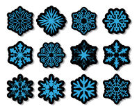 vector snowflake stickers Royalty Free Stock Image