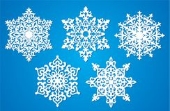 Vector snowflake laser cut template. Cutout pattern of Christmas or New Year decoration. Background illustration for greeting card. Vector snowflake template royalty free illustration