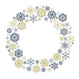 Vector Snowflake Wreath. Snow flake circle frame Isolated on white background vector illustration