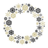 Vector Snowflake Wreath. Snow flake circle frame Isolated on white background royalty free illustration