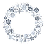 Vector Snowflake Wreath. Snow flake circle frame Isolated on white background stock illustration