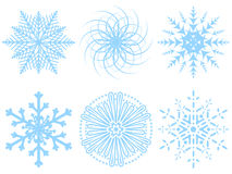 Vector snowflakes. Six different snowflakes on a white background. Vector illustration Stock Photos
