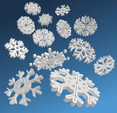 Vector snowflakes. Falling 3D snowflakes. Vector illustration Stock Photo