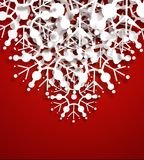 Vector Snowflakes. Vector decorative design of overlapping snowflakes on red background. The shadow effects are entirely vector based Stock Images