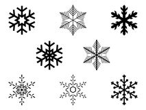 Vector snowflakes. Collection of isolated snowflakes,  illustration Stock Photos