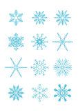 Vector snowflakes. Set of 12 vector blue snowflakes Royalty Free Stock Image