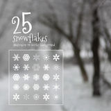 25 vector snowflakes. On a blurred background of a winter landscape Royalty Free Stock Photography